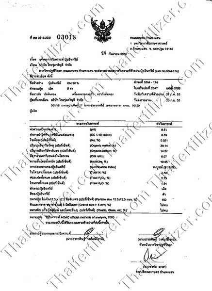 รายงานผลการวิเคราะห์ปุ๋ยอินทรีย์ 2555